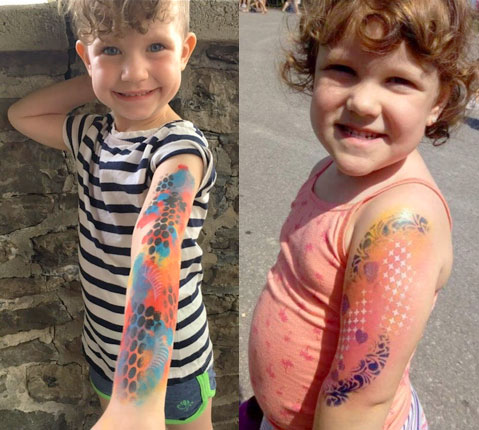 Fantasy Face Painting example of children's arm and leg painting